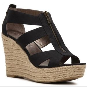 Black Cutout Platform Espadrille Wedges
